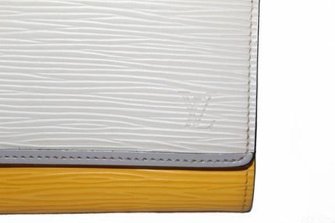 Authentic Louis Vuitton White/Yellow Epi Leather Long Flap Wallet