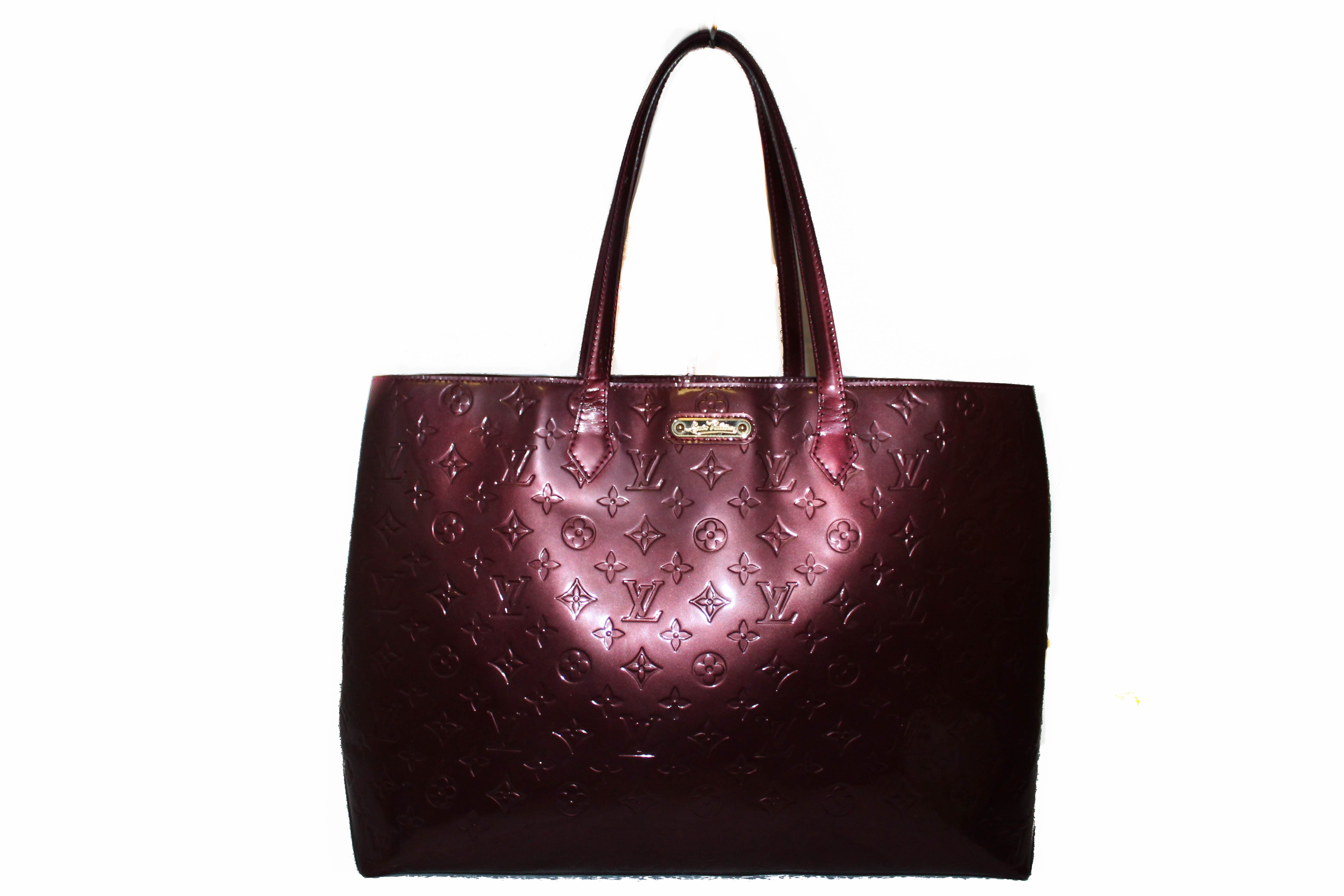Authentic Louis Vuitton Purple Vernis Wilshire GM Tote Shoulder Bag