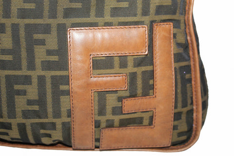 Authentic Fendi Brown Zucca Canvas Large Messenger Bag