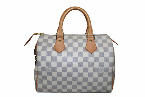 Authentic Louis Vuitton Damier Azur Speedy 25 Hand Bag