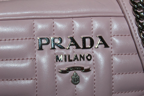 Authentic Prada Camera Diagramme Mini Pink Quilted Crossbody Bag