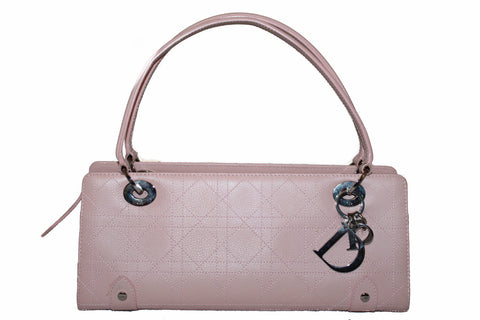 Authentic Christian Dior Pink Calfskin Leather Tote Shoulder Bag