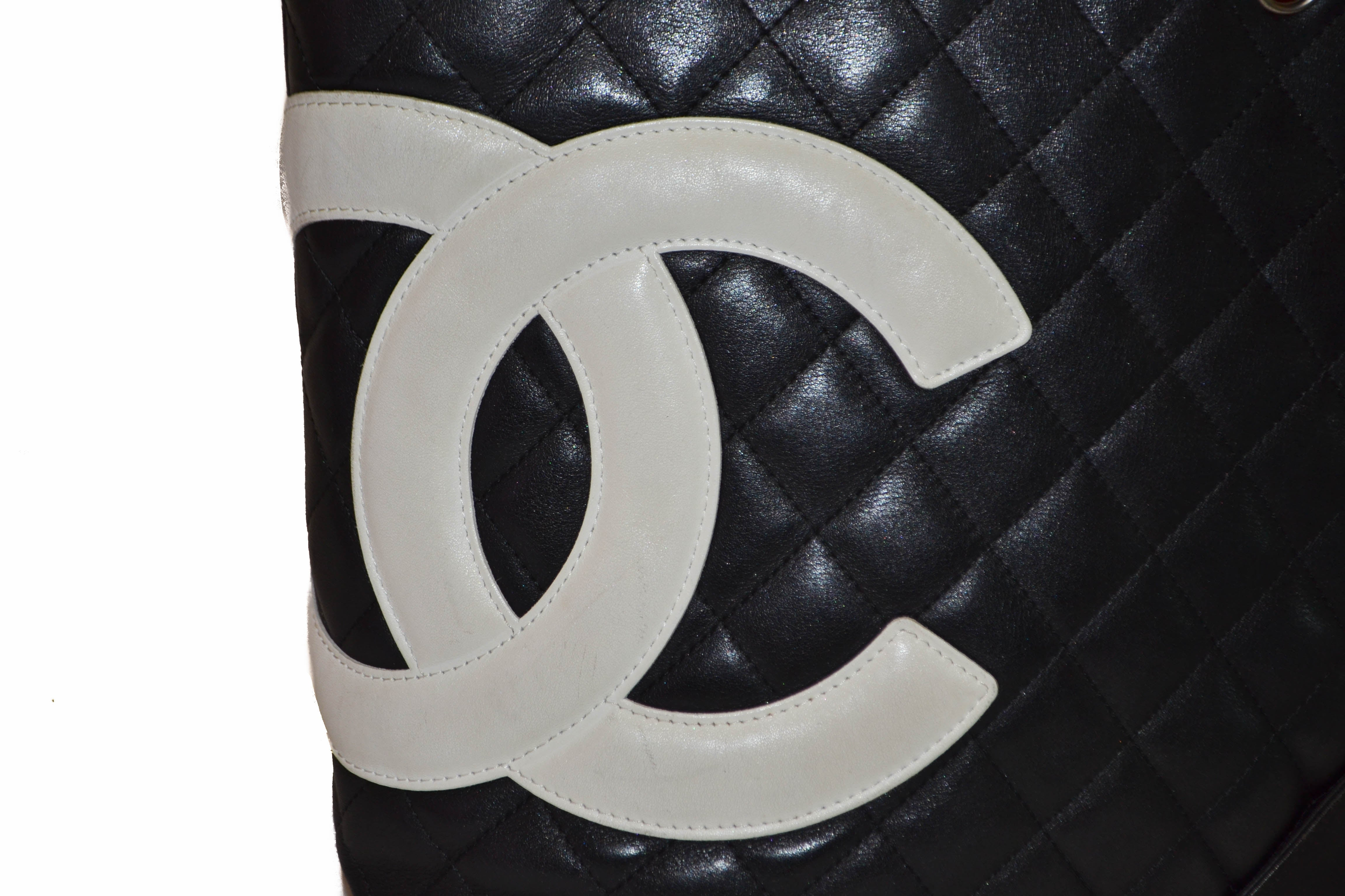 Authentic Chanel Black Petite Cambon Tote Shoulder Bag
