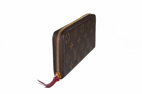 Authentic New Louis Vuitton Classic Monogram Fuchsia Clemence Wallet