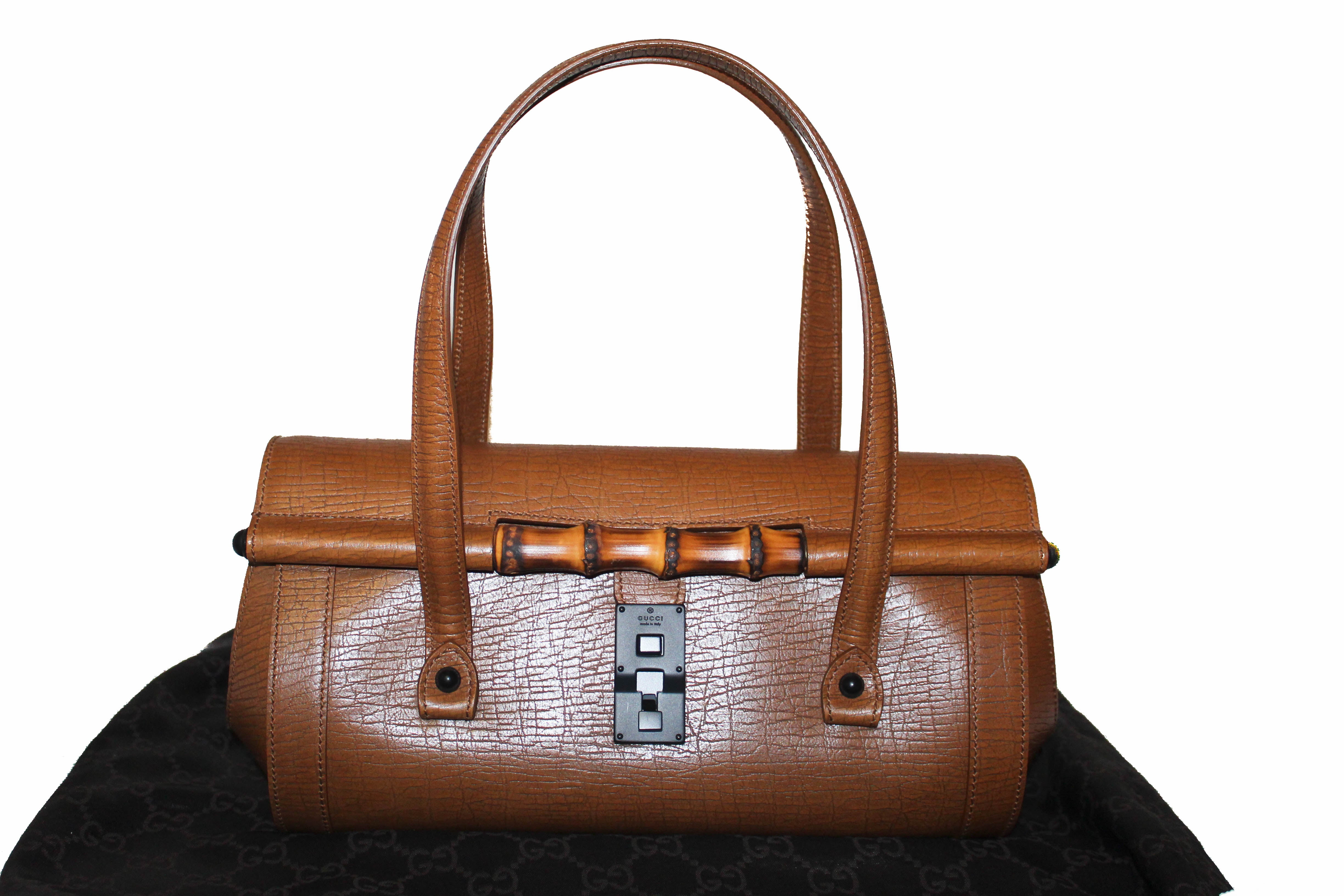 Authentic Gucci Brown Bullet Bamboo Leather Shoulder Bag
