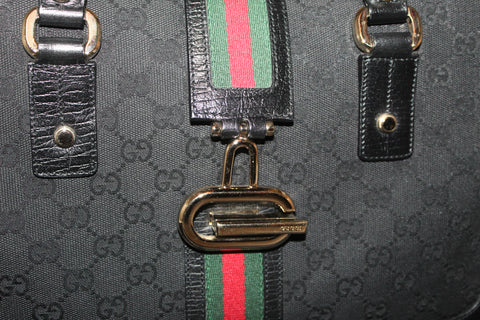 Authentic Gucci Black Signature Canvas w/ Green/Red Web Tote Hand Bag