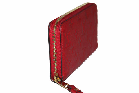 Authentic Louis Vuitton Red Empreinte Leather Zippy Wallet