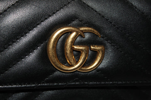 Authentic Gucci Black Marmont Chevron Leather Wallet