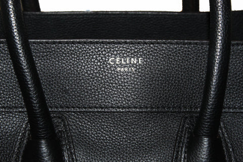 Authentic Celine Black Drummed Calfskin Leather Mini Luggage Tote Hand Bag