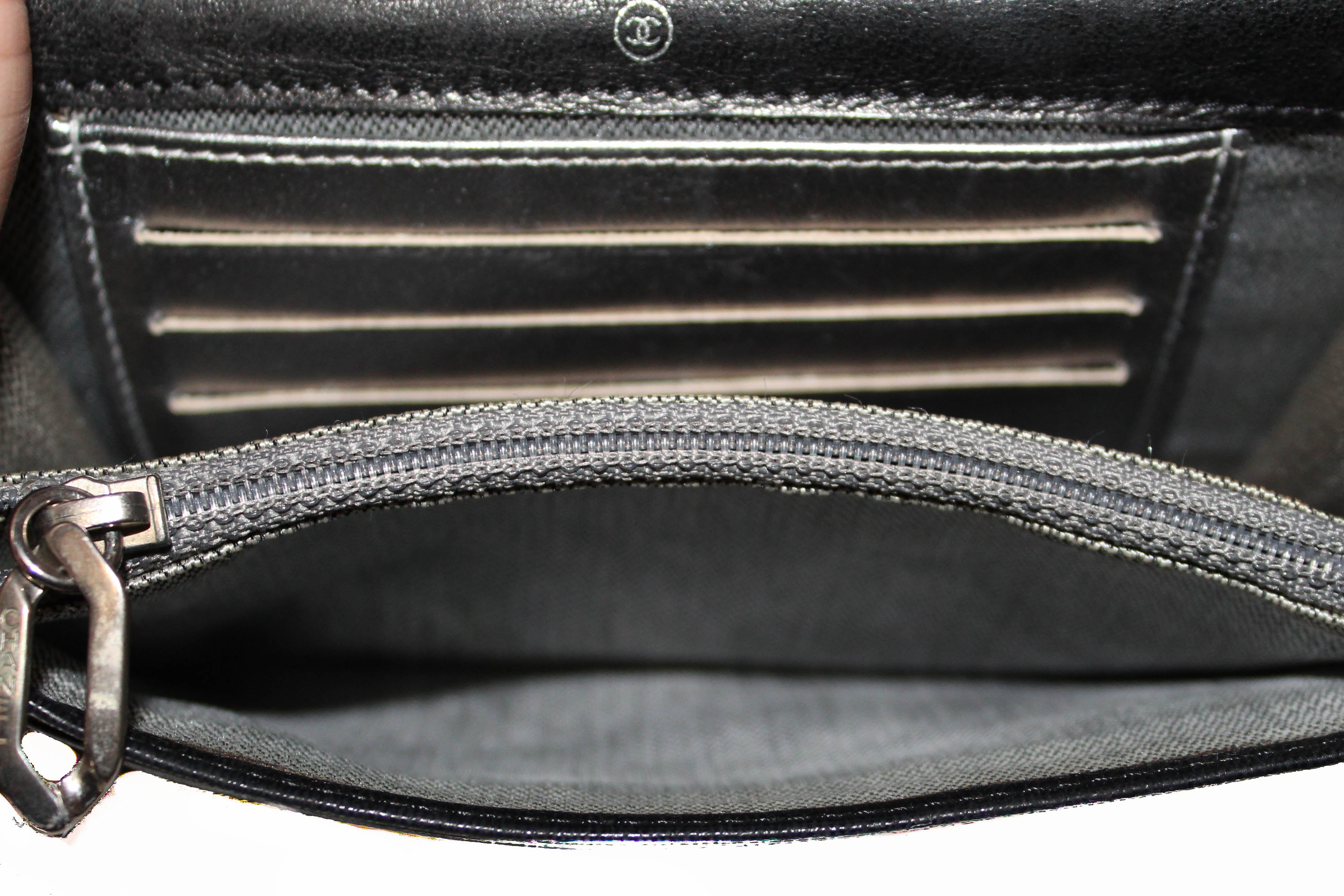 Authentic Chanel Black Lambskin Leather Compact Wallet