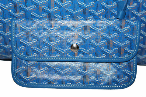 Authentic Goyard Blue Chevron Print Coated Canvas St. Louis PM Tote Bag