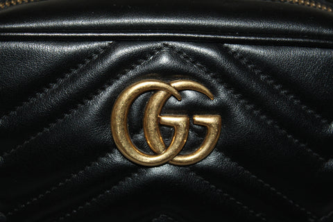 Authentic Gucci Black Marmont Matelasse Leather Mini Camera Crossbody Bag