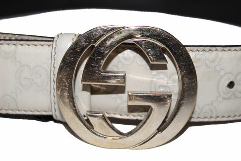 Authentic Gucci Ivory Signature Leather with G Buckle Belt