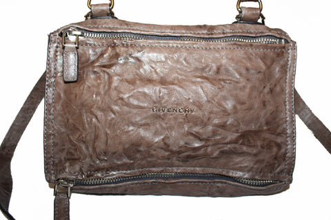 Authentic Givenchy Charcoal Aged Leather Small Pandora Hand/Crossbody Bag