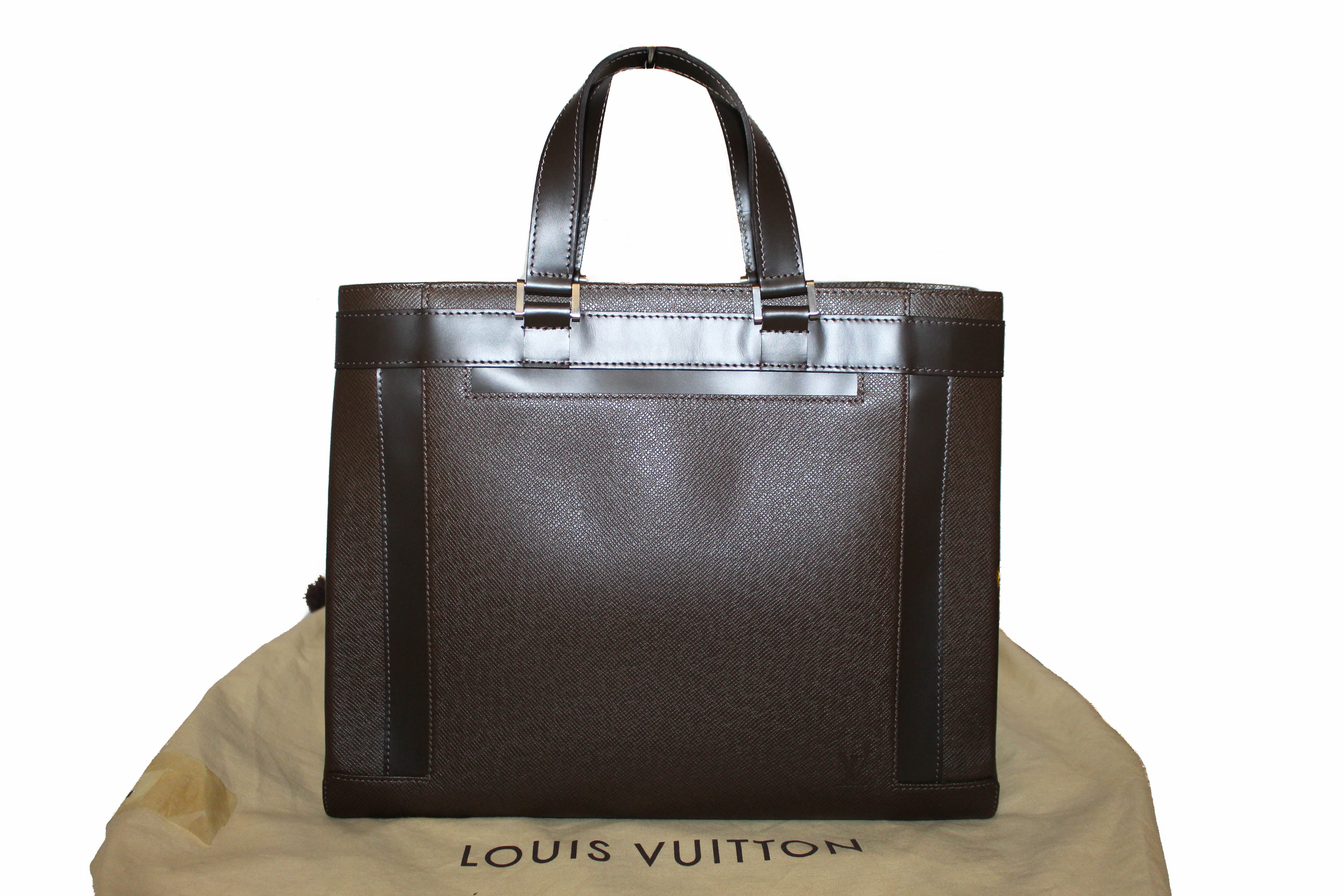 Authentic Louis Vuitton Brown Taiga Leather Grizzli Kasbek PM Tote Hand Bag