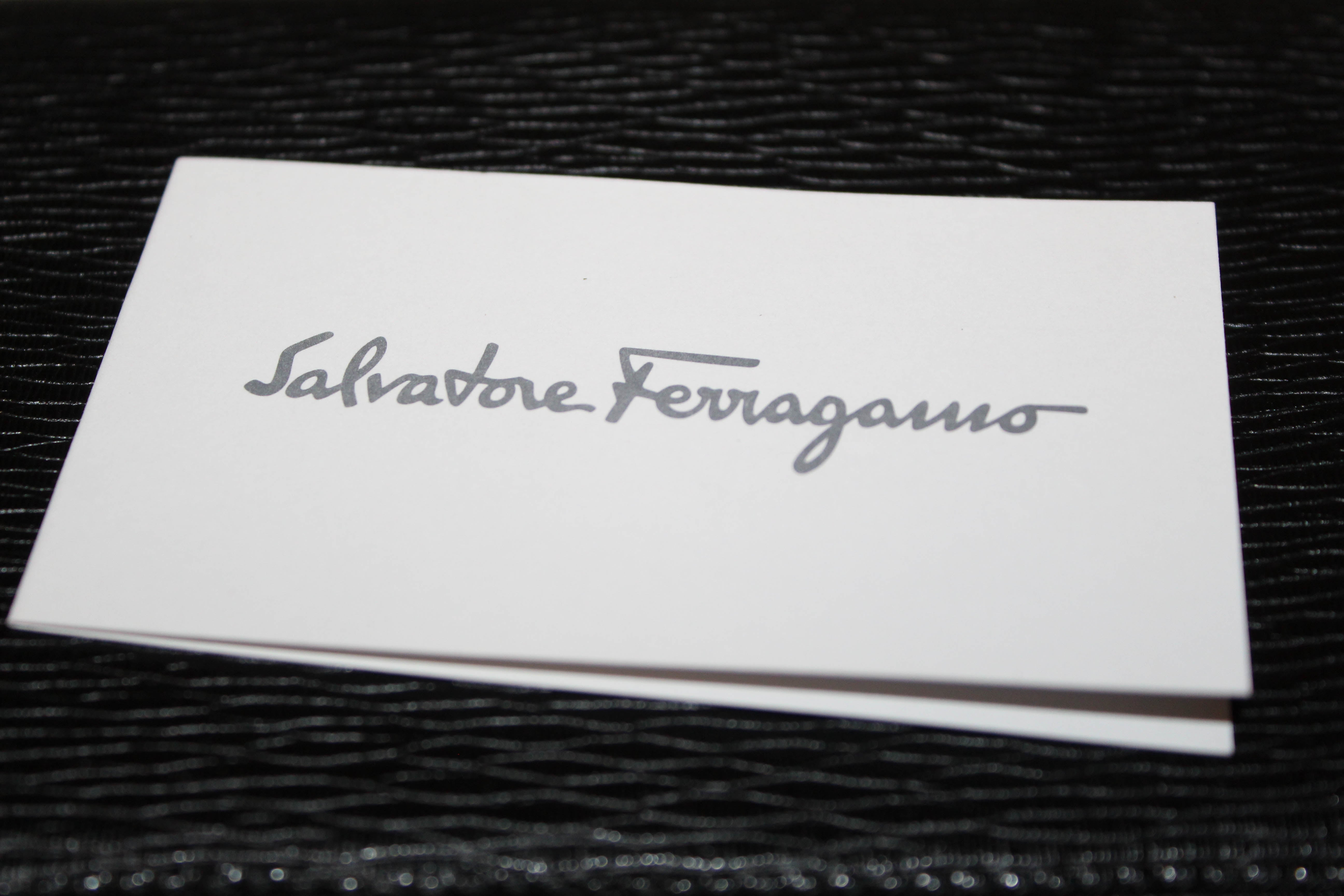 Authentic New Salvatore Ferragamo Black Hammered Calfskin Leather Zip Around Wallet