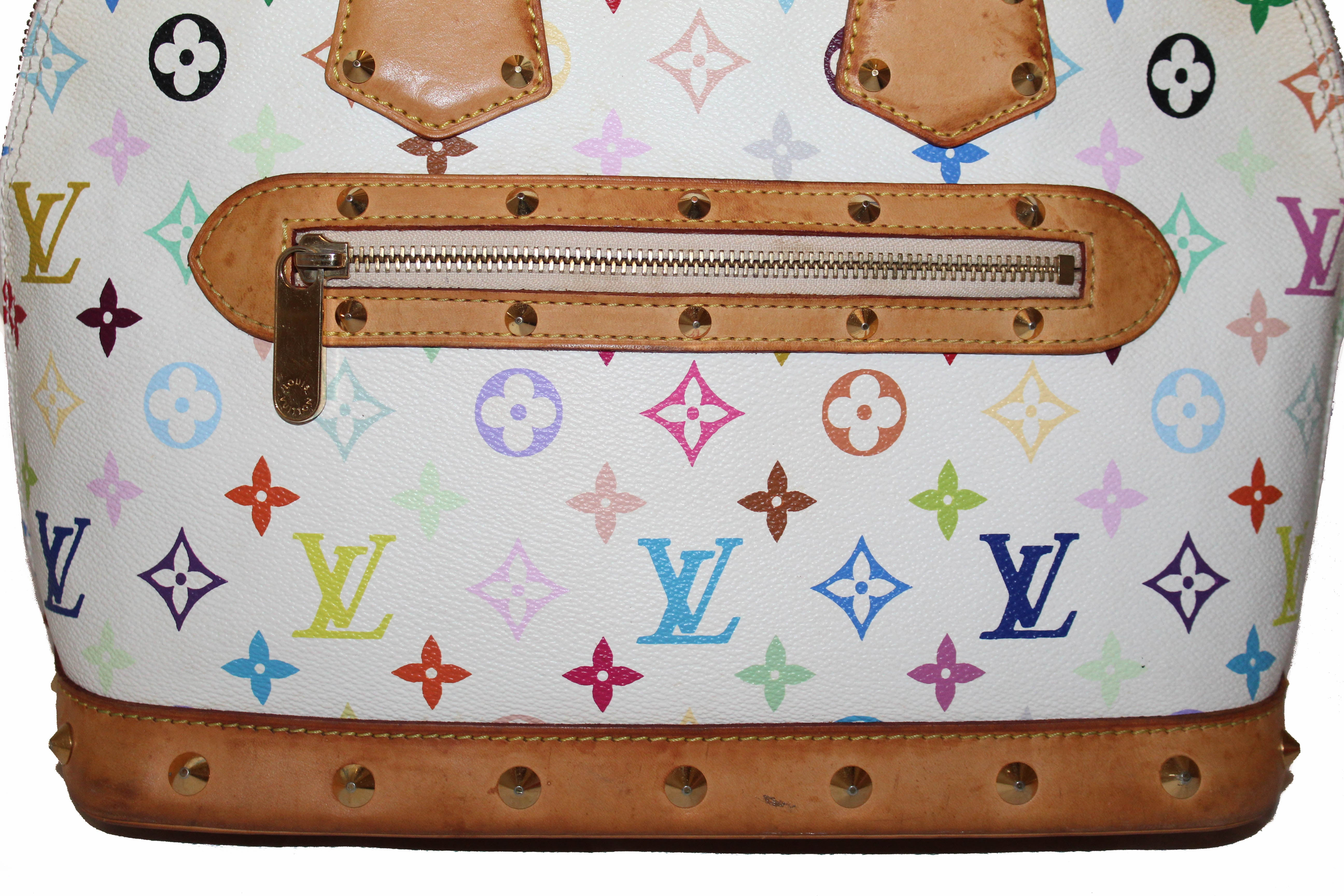 Authentic Louis Vuitton White Multicolore Monogram Alma PM Hand Bag