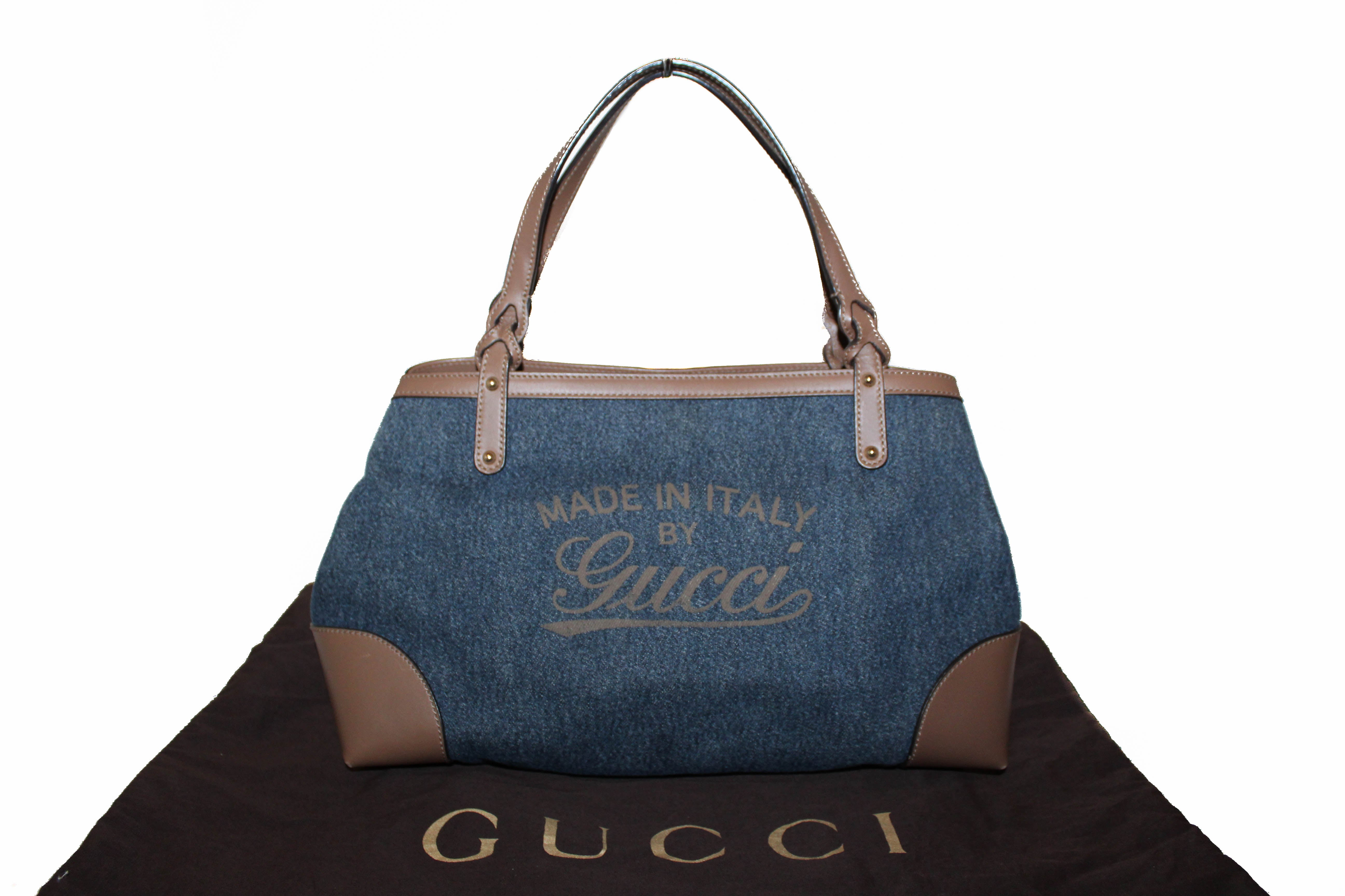 Authentic Gucci Blue Denim Brown Leather Made in Italy by Gucci Tote Bag