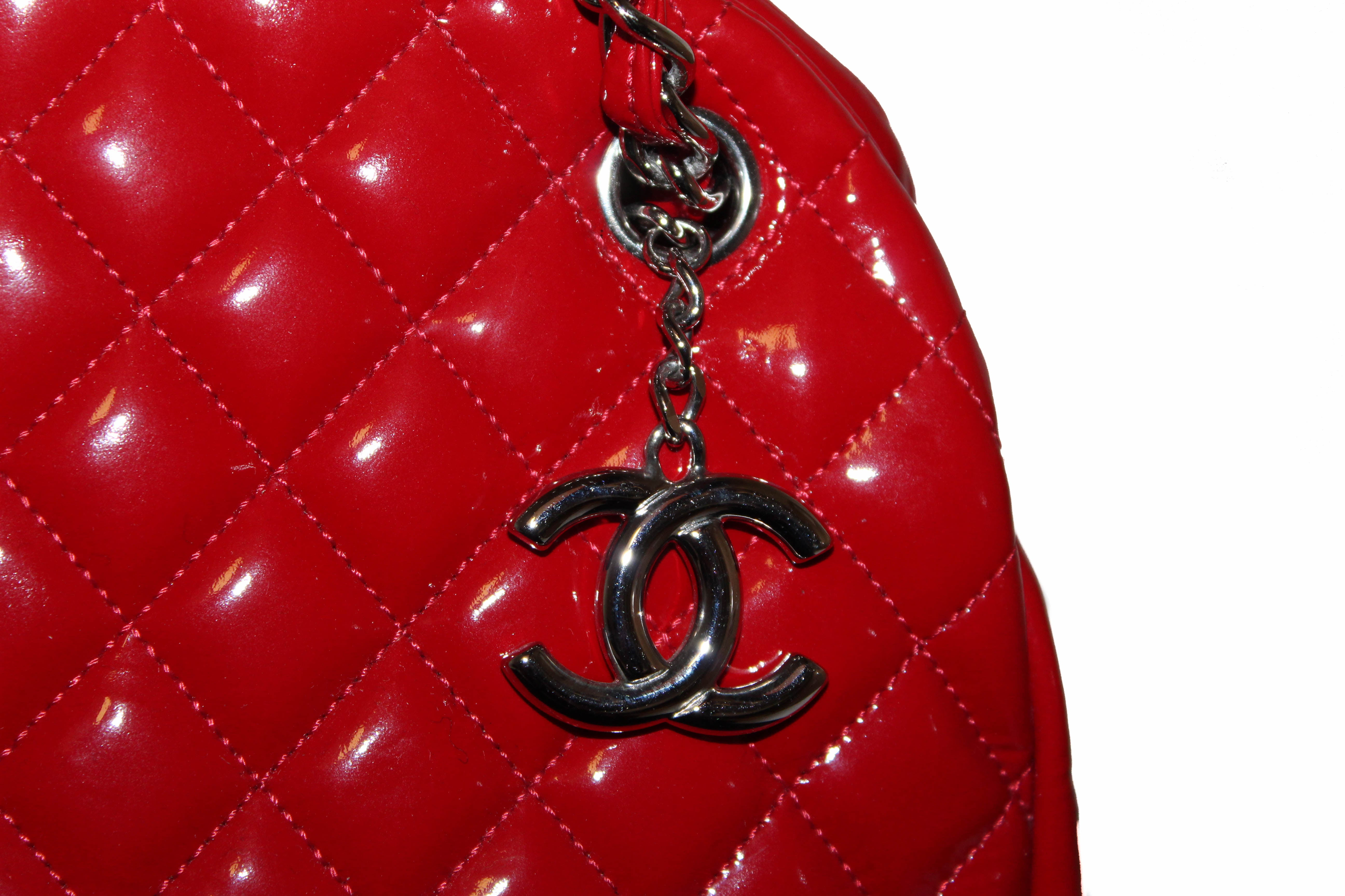Authentic Chanel Red Quilted Patent Leather Bowling Mademoiselle Shoulder Bag