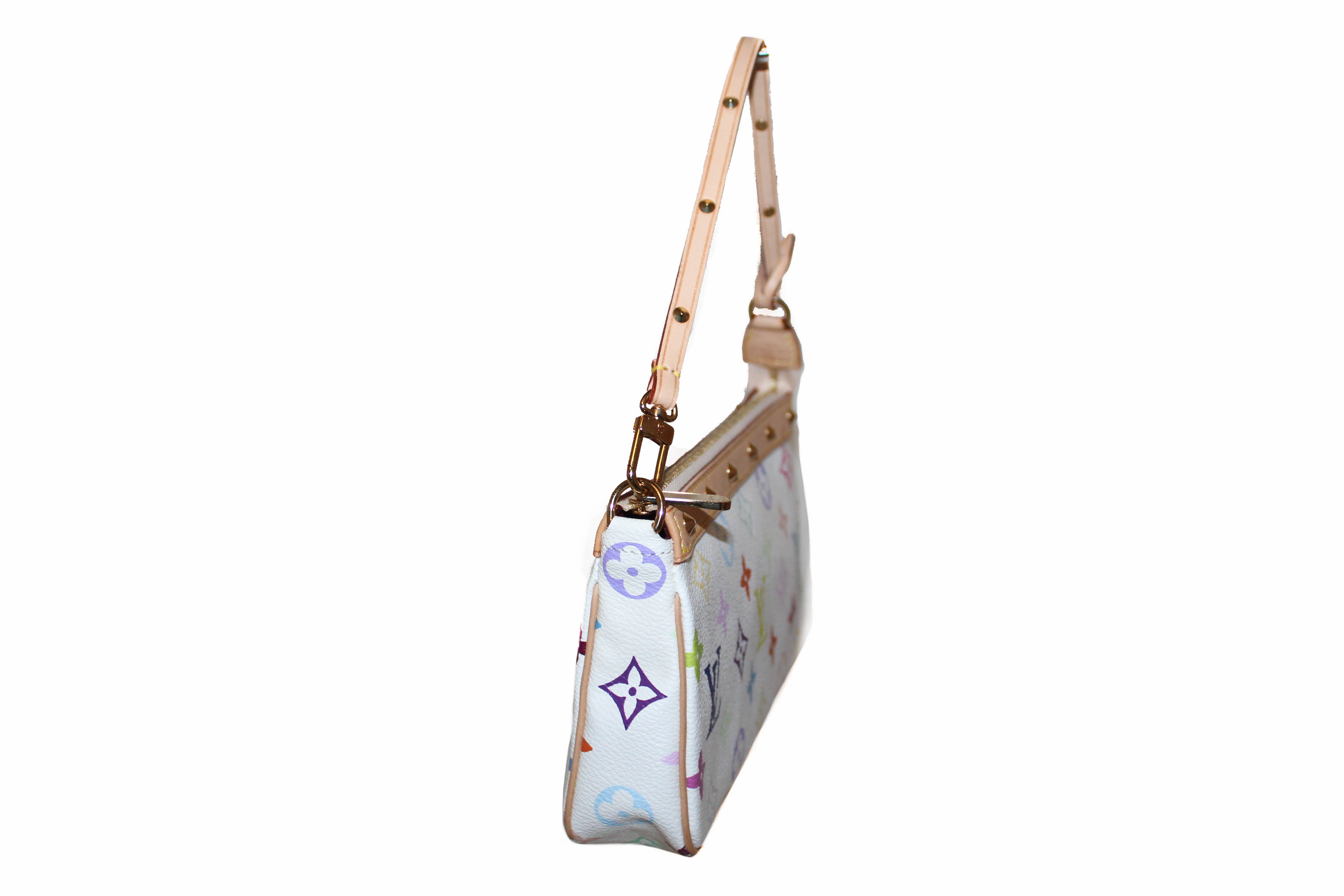 Authentic New Louis Vuitton White Multicolor Pochette Accessories Handbag
