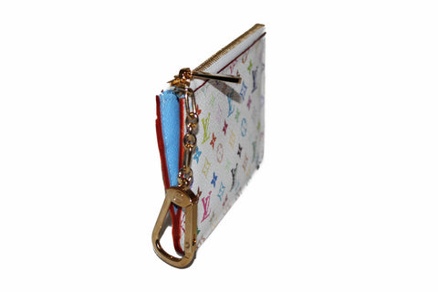 Authentic New Louis Vuitton White Multicolore Pochette Cle Key Coin Pouch Case