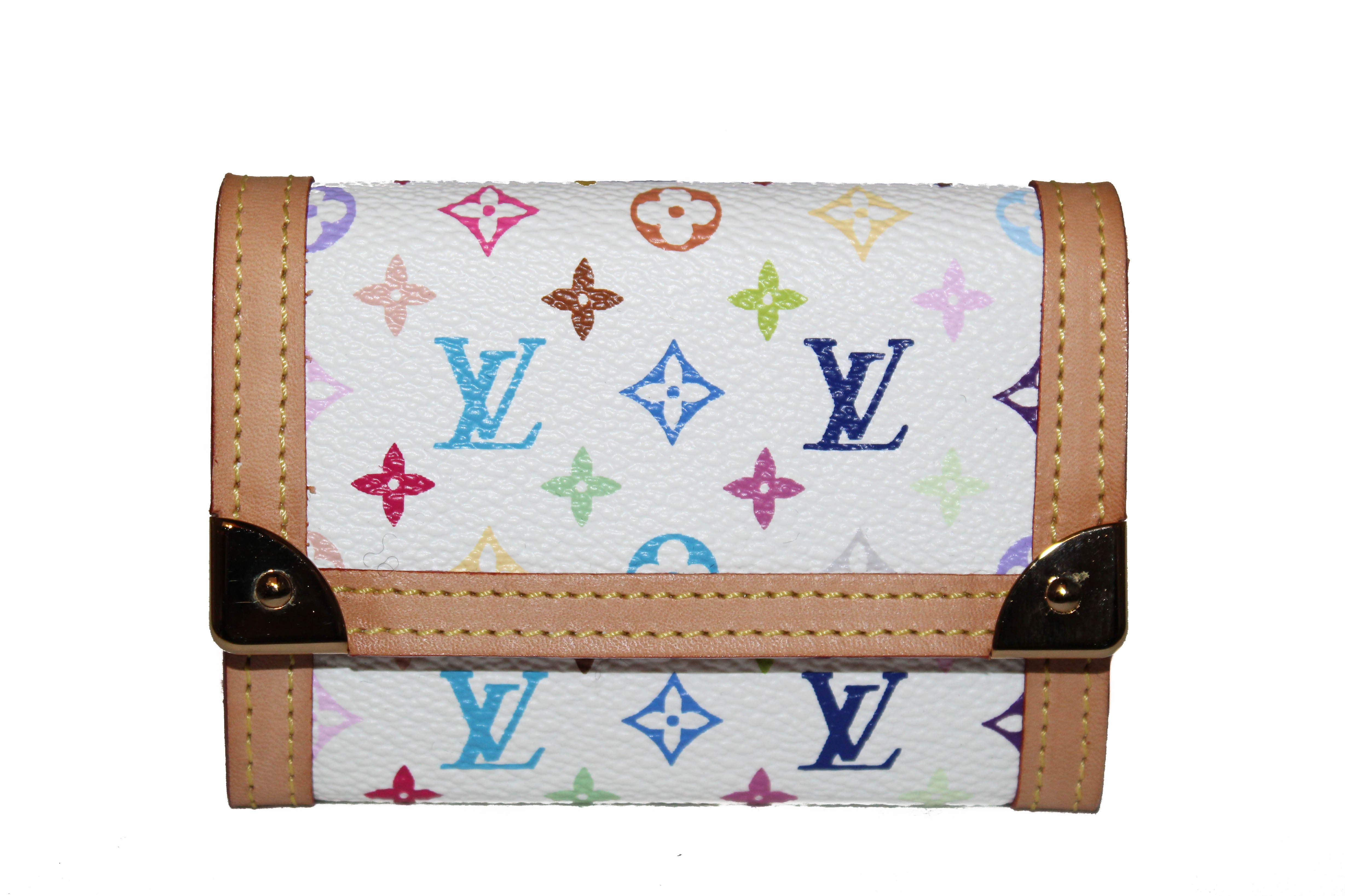 Authentic New Louis Vuitton White Multicolor Canvas Coin Card Holder Small Wallet