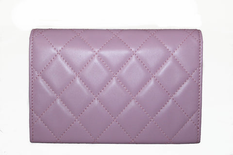 Authentic New Chanel Pink Quilted Cambon Lambskin Leather Medium Wallet