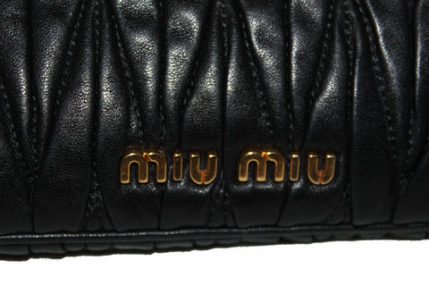Authentic Miu Miu Black Nappa Matelasse Leather Clutch