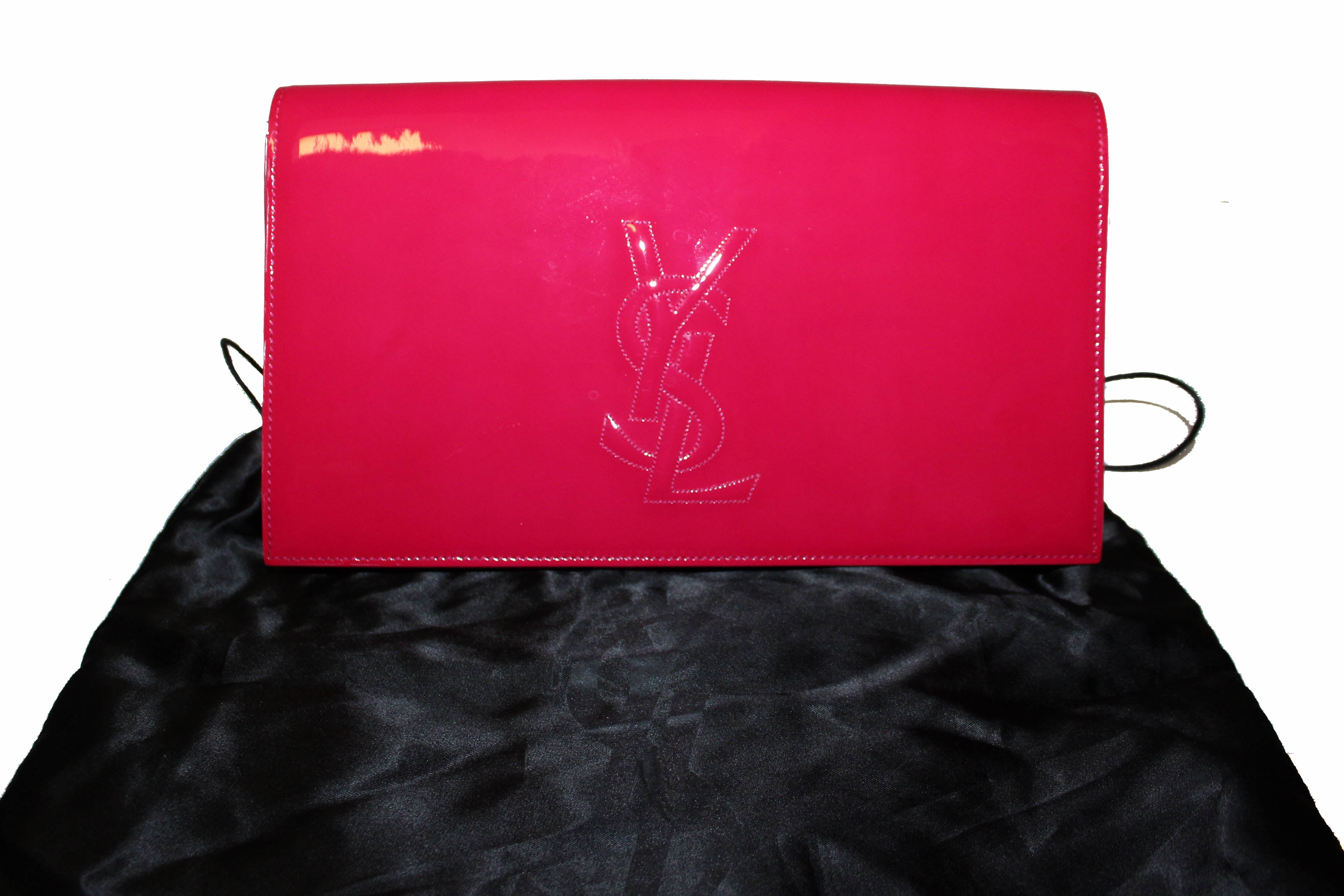 Authentic Yves Saint Laurent YSL Pink Patent Leather Clutch