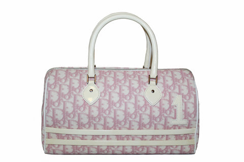 Authentic Christian Dior Pink Signature Oblique Trotter No. 1 Hand Bag