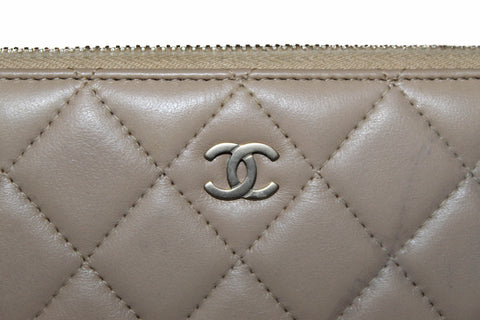 Authentic Chanel Beige Quilted Lambskin Leather Classic Long Zipped Wallet
