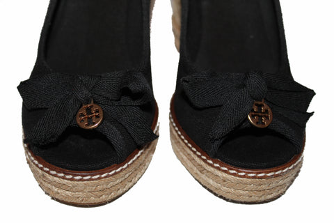 Authentic Tory Burch Black Canvas Jackie Espadrille 110mm Wedge Shoes Size 7