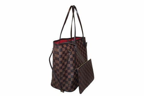 Authentic Louis Vuitton Damier Ebene Canvas Neverfull Tote Shoulder Bag