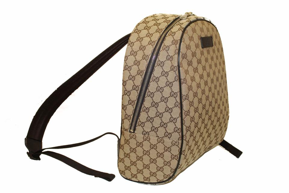 Authentic New Gucci Brown GG Fabric Monogram Canvas Backpack