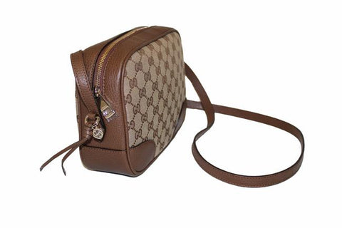 Authentic New Gucci Bree Disco Brown GG Canvas Fabric Crossbody Bag