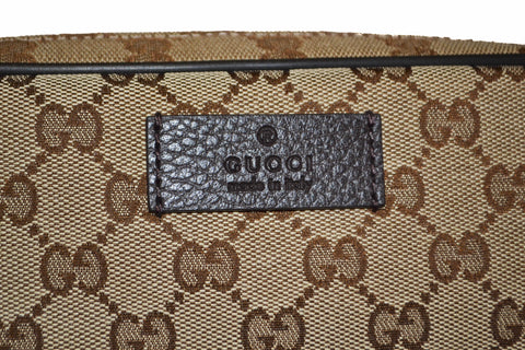 Authentic New Gucci Brown Signature GG Fabric Waistbag 449174