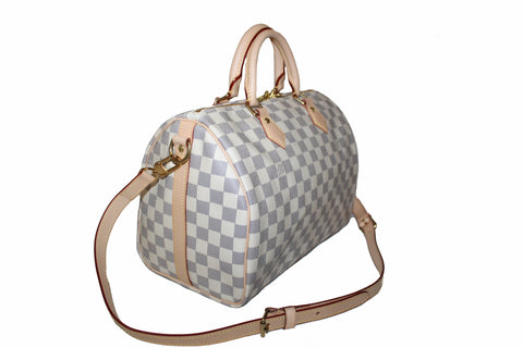 Authentic New Louis Vuitton Damier Azur Speedy 30 Bandouliere Hand/Shoulder/Crossbody Bag