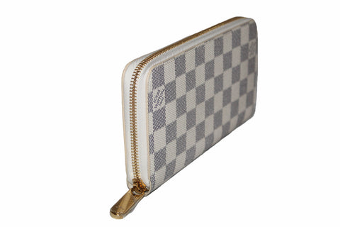 Authentic New Louis Vuitton Damier Azur Canvas Zippy Wallet