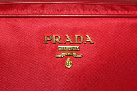 Authentic New Prada Red Nylon Tessuto Messenger Camera Bag 1BH089