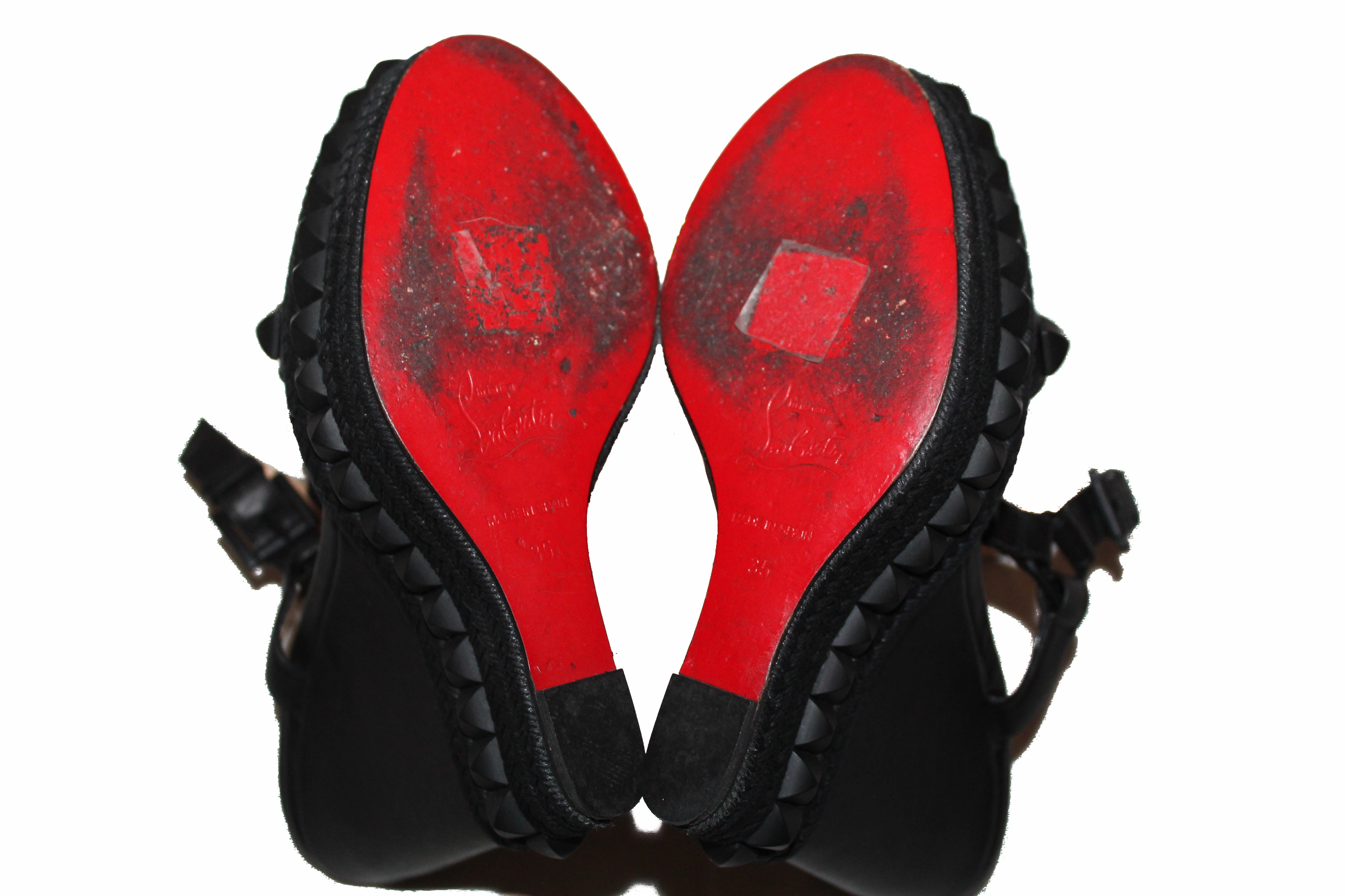 Authentic Christian Louboutin Black Cataclou 140 Wedge Sandals Shoes Size 35