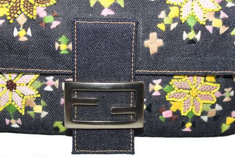 Authentic New Fendi Blue Denim Floral Embroidered Beaded Baguette Shoulder Bag
