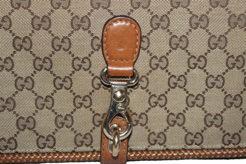 Authentic Gucci Camel Brown GG Signature Canvas Marrakech Medium Shoulder Bag