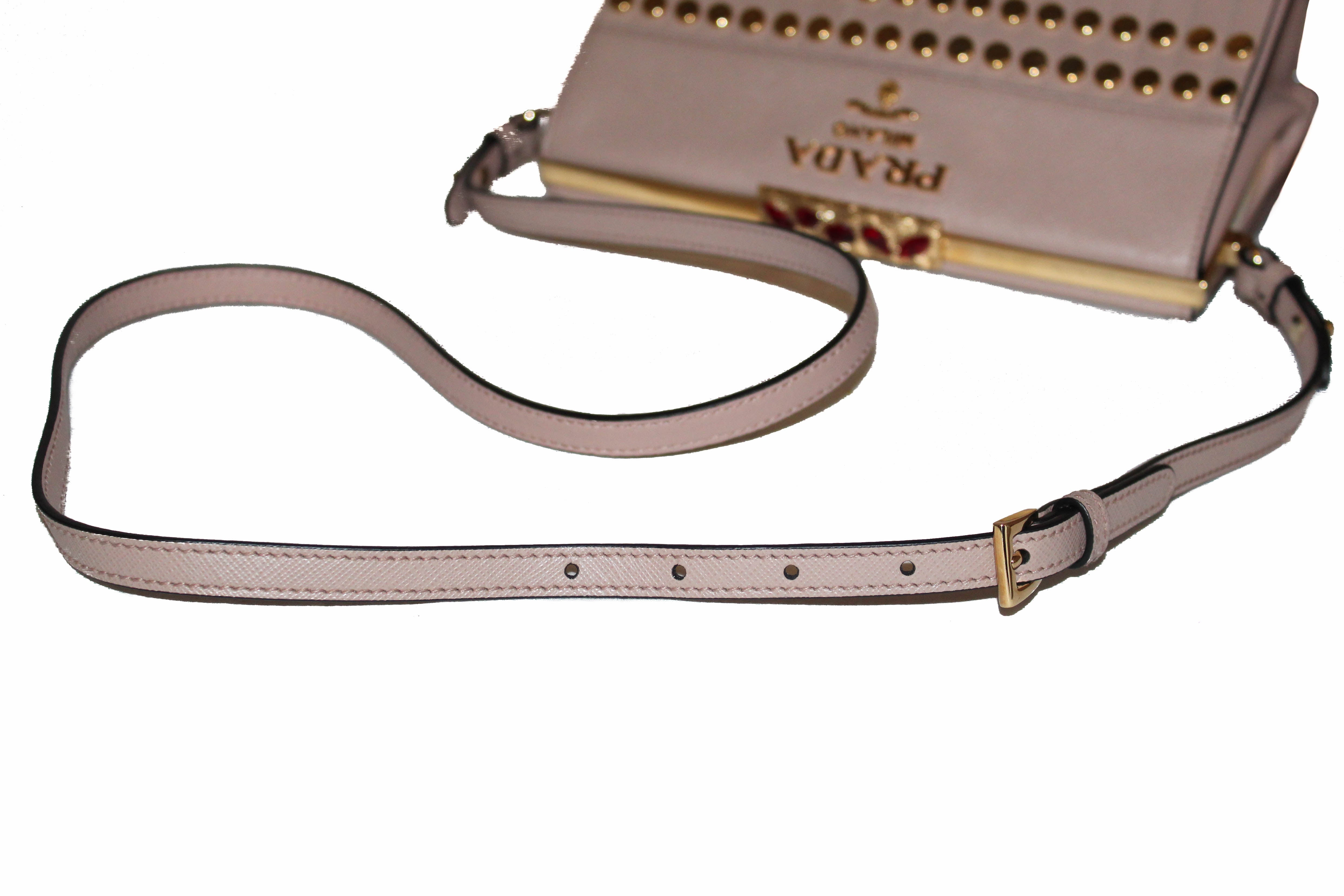 Authentic Prada Beige Blush Saffiano and City Idol Fringes and Studs Leather Bag 1BC046