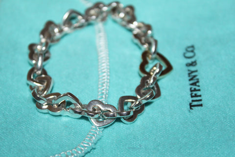Authentic Tiffany Sterling Silver 18K Yellow Gold Heart Links Bracelet