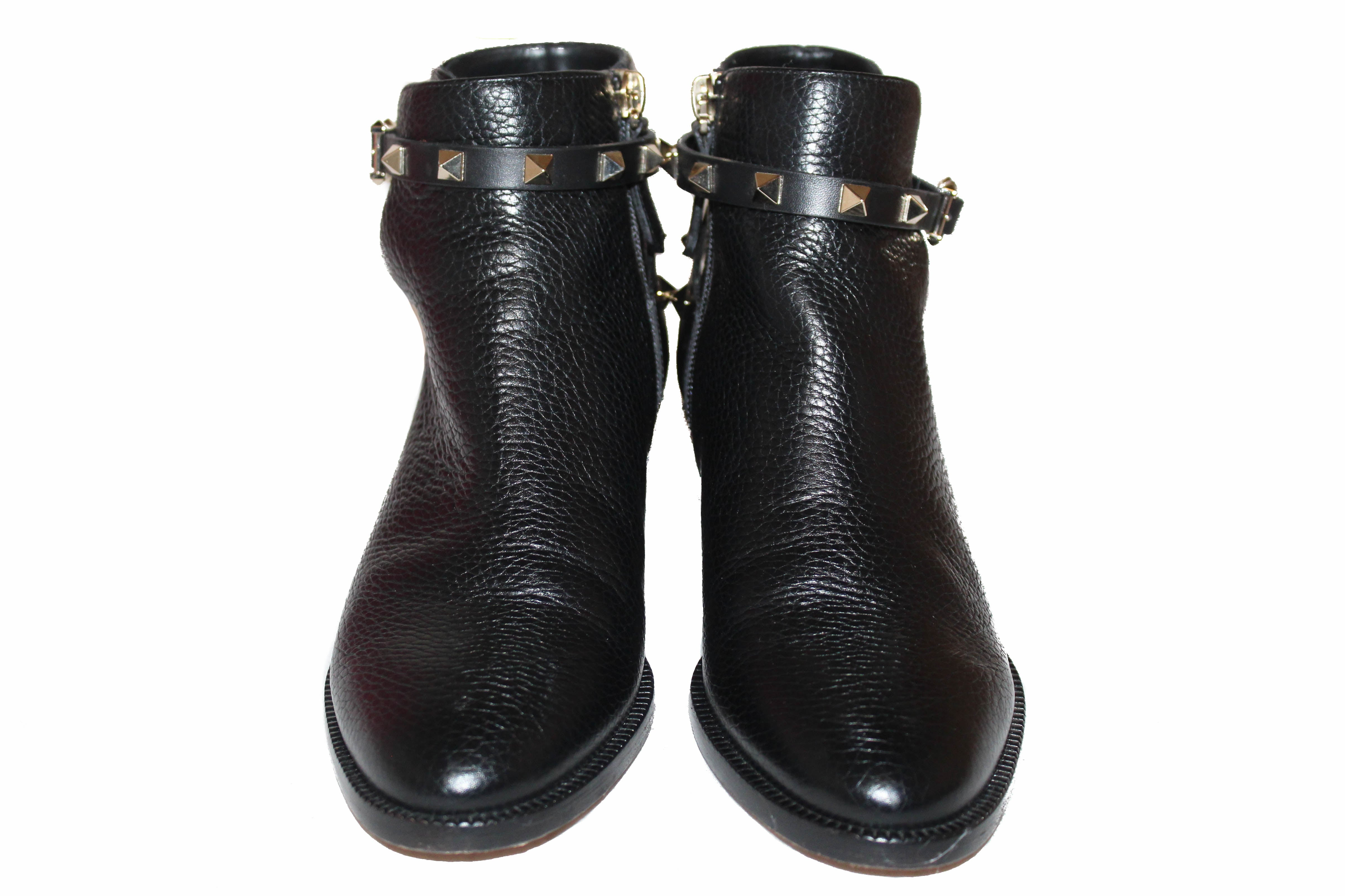 Authentic Valentino Black Leather Rockstud Grainy Calfskin Ankle Boots Shoes Size 36