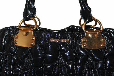 Authentic Miu Miu Black Matelasse Patent Leather Large Tote
