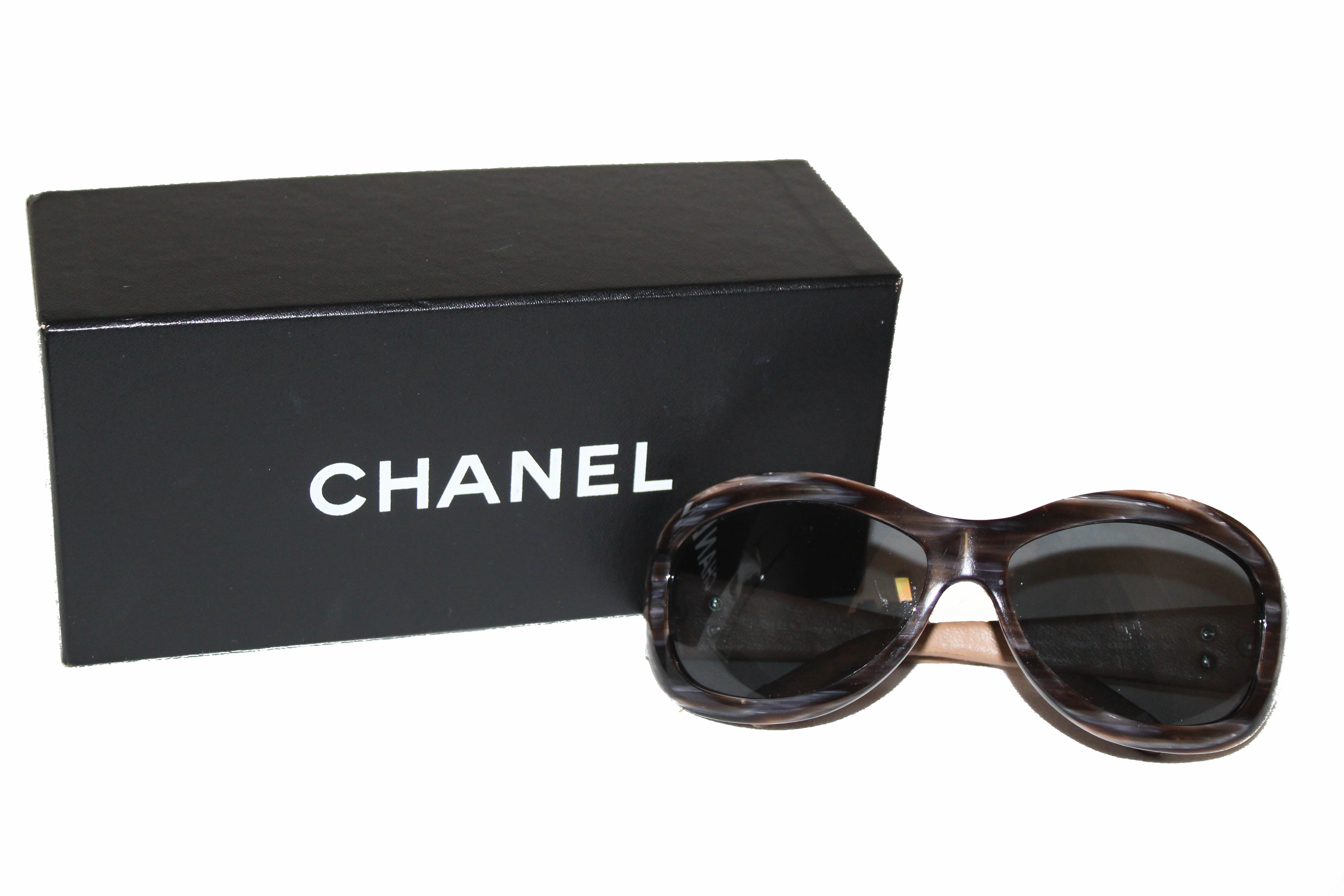Authentic Chanel Beige Quilted Leather Sunglasses 5116-Q