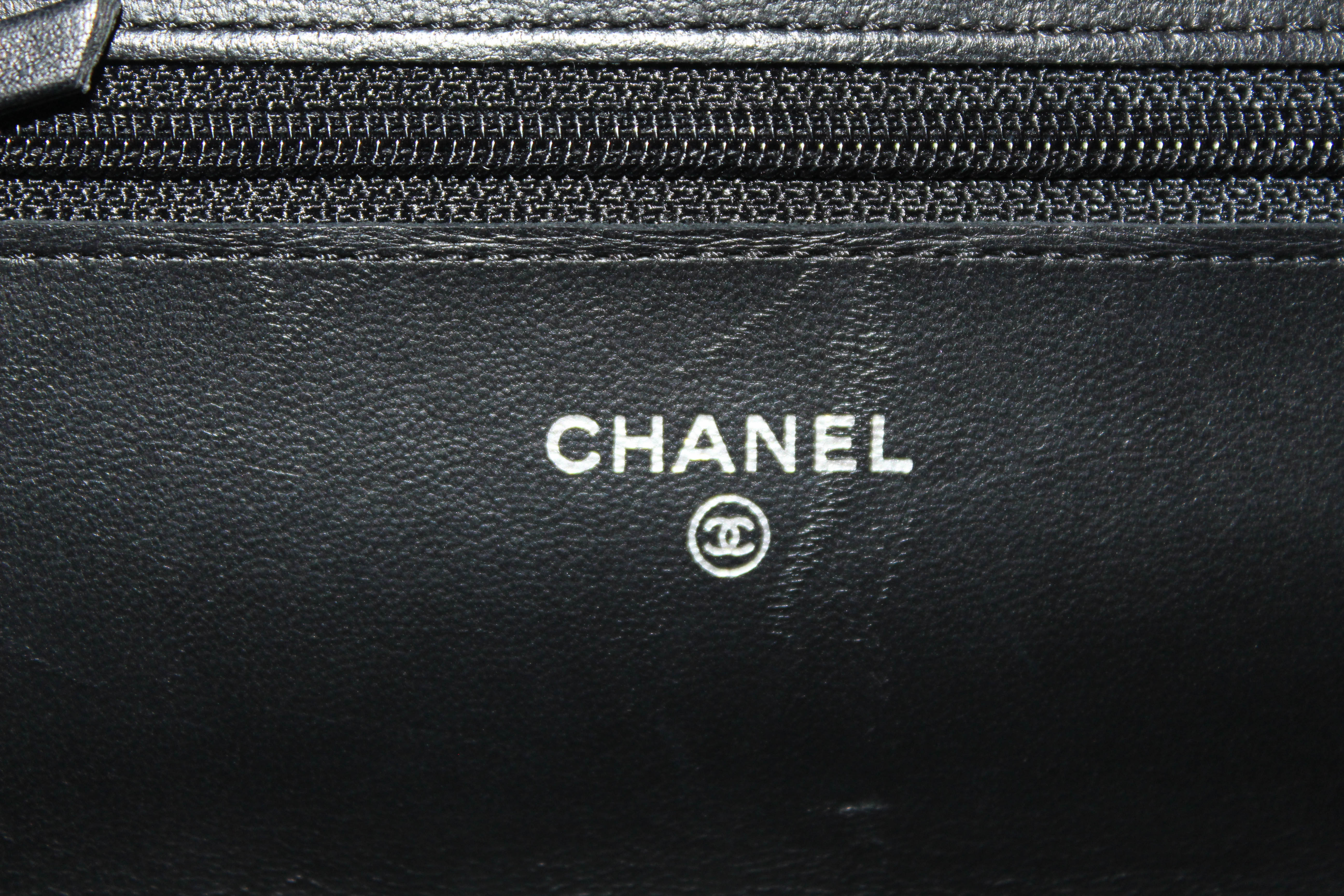 Authentic Chanel Black Quilted Lambskin Leather Wallet on Chain WOC Messenger Bag