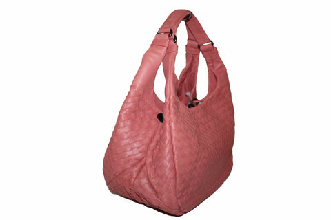 Authentic New Bottega Veneta Pink Nappa Intrecciato Medium Campana Shoulder Bag