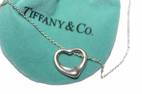 Authentic Tiffany & Co. Sterling Silver Open Heart 16mm Necklace